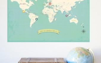 Leerzame vintage wereldkaart