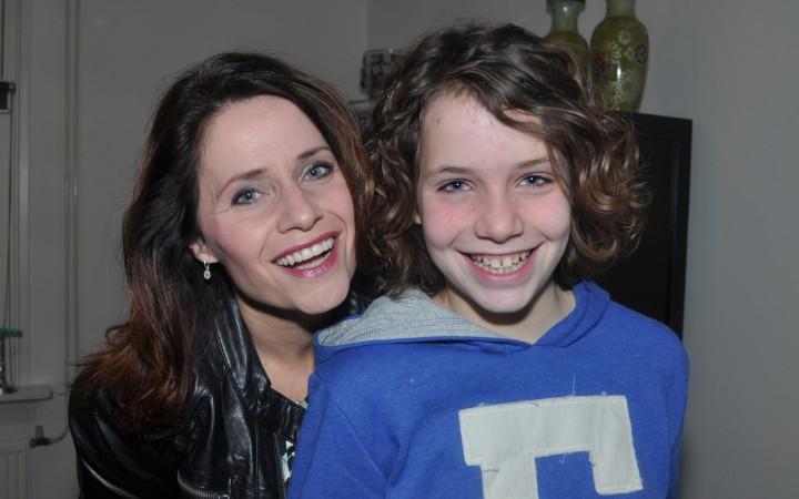 Angelique met voetbaldochter Liv